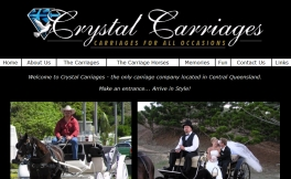CRYSTAL CARRIAGES - OFFICIAL WEBSITE : Designed by Epod for Yeppoon business, Crystal Carriages who can transport you almost anywhere in style in their beautiful carriages!